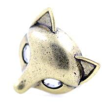 Vintage retro style crystal eyed fox ring, UK Size P