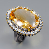 Citrine Ring Silver 925 Sterling IF 21x15 mm. Unique Size 8.5 /R145944