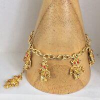 Butler And Wison Crystal Teddy Bear Charm Bracelet Original Box Gold Tone 19cm