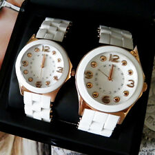 MARC JACOBS HIS & HERS PELLY WHITE SILICONE WRAPPED  ROSE GOLD WATCH SET MBM9023