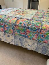 Lily Pulitzer queen size vintage quilt, 100 inches x 95 inches,