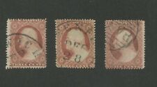 1857 United States Postage Stamps #25A Set Used Plates 2-3-5 Certified