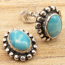 $0.99 !! 925 Silver Overlay Gift ! Simulated LARIMAR HANDWORK ART Stud Earrings