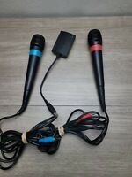 Sony PS2 Singstar Microphones w/Dongle, Red Blue Set (PlayStation 2) WORKS