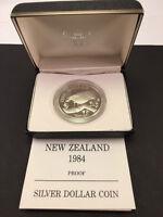 1984 New Zealand Silver Proof Dollar The Chatham Island Black Robin