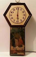 Vintage Marlboro Man Lighted Clock Collectible