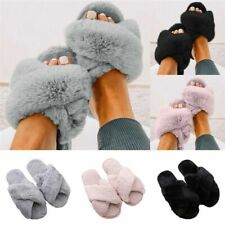 Women Fur Fluffy Slippers Sliders Cross Over Open Toe Summer Mules Sandals