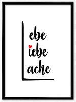 Kunstdruck Poster Liebe Lachen Leben Wandbild Spruch Bild Geschenk Herzen A3 A4
