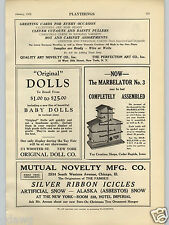 1928 PAPER AD Toy Creation Shops Marblelator Marble Toy Albin Martin Wood Toys