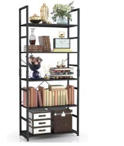 NUMENN 5 Tier Bookshelf Tall Black Bookcase Shelf Storage Organizer