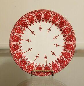 Pottery Barn Christmas Tahoe Fair Isle Salad Plates Red Set of 4 NEW