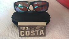Costa Del Mar Zane Matte Black Frame Green Mirror 580G Glass Polarized Lens