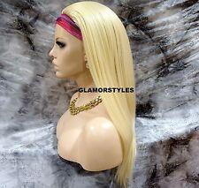 "29"" Straight Layered Bleach Blonde 3/4 Half Fall Wig Heat Ok Full Hair Piece NWT"