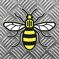 Mancunian Bee Sticker, Manchester bee Proud to be Mancunian Car Sticker 95x75mm