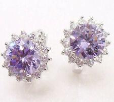 Huggie Hoop Earrings Lilac Cubic Zirconia White Gold Plated Snap Closure UK