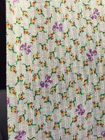 Vintage Dimity Fabric Cotton Blend Rosebud Floral Leno Weave Doll Apparel BTHY