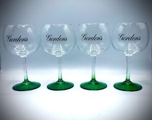 4 x  Gordon's Large Balloon Green Stem Gin Glass Bowl Goblet In Box New