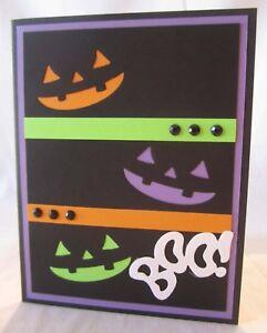 Handmade HALLOWEEN Pumpkin Faces Die Cut Boo ! Blank Inside U Choose How Many