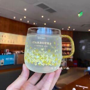 Starbucks Color-changing Yellow Osmanthus Flower Glass Coffee Mug Christmas Cups