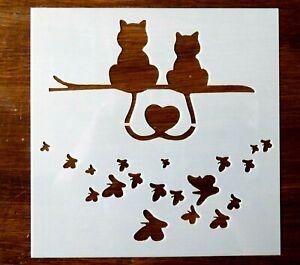 CATS AND BUTTERFLIES STENCIL 130mm x 130mm