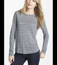 Vince Linen Striped Long Sleeve Tee Dark Heather Grey White Size L $145