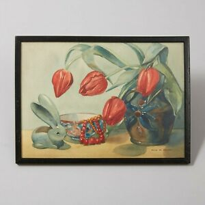 Beautiful Still Life Watercolour Of Tulips By Olive Marian Bayles R.A.