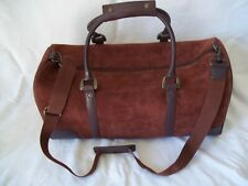 Vintage  Brown Suede Leather Duffle / Travel Bag With Shoulder Strap