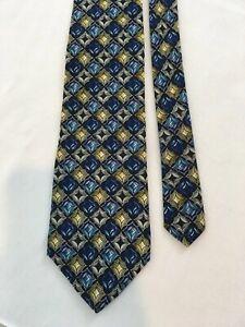 Christian Dior Monsieur Blue Geo Abstract Vtg USA Made Silk Necktie