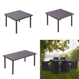 Rattan Glass Table Outdoor Garden Rectangle Patio Dining Tables  UK
