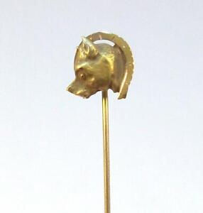 Fine Vintage Estate 14K Yellow Gold DOG HEAD & HORSESHOE Figural Stick Pin