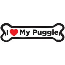 I Love My Puggle Dog Bone Car Magnet - 2x7 Dog Bone Auto Truck Decal Magnet