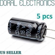5 Pcs 1000 uF 1000MFD 16V 105°C Electrolytic Capacitor 8X16mm 1000UF MDF 105C