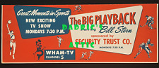"1950s BILL STERN SPORTS ""BIG PLAYBACK"" SIGN WTAM TV ROCHESTER NY BUS TROLLEY"