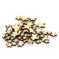 50 Pcs Mixed Wooden Stars ScrapBooking Embellishments Craft Card Party Decor AU