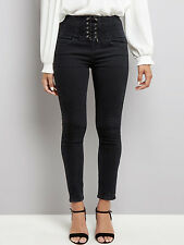 NEW LOOK BLACK Corset Lace Up High Waist Skinny Jeans Trousers 4 6 8 10 12 16 18