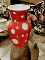 Terramoto San Francisco Red with White Polka Dots Vase Large 10""