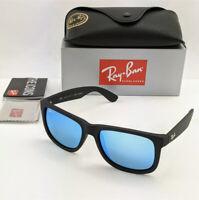 RayBan Justin Polarised Sunglasses- Matte Black Blue Mirror 622/55