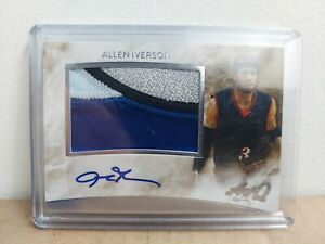 2015 Allen Iverson **SICK** 4 Color Game Worn Patch Auto!!! ONE OF A KIND!! 🔥🔥