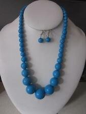 TURQUOISE BLUE LUCITE BEAD GRADUAL NECKLACE EARRING
