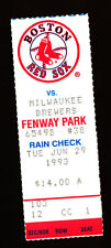 6/29/1993 Milwaukee Brewers @ Boston Red Sox Ticket - Mo Vaughn HR