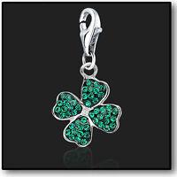 925 Sterling Silver Clip On Bracelet Charm 4 Leaf Clover Swarovski Crystal 3D