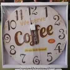 "GIANT 22"" 15 CENT COFFEE OLD DINER CLOCK HUGE XL LARGE Vintage Look  WOOD ~ Nice"