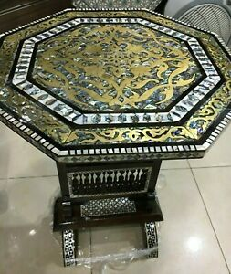"""Handmade Wood End Table Hollow Copper Inlaid Mother of Pearl (17.2"""")"""
