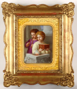 """Children before Altar of Love"", important Vienna porcelain plaque!!, 1830s"