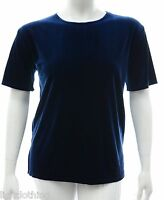 Womens Size 16 - 24 Stretch Plain Blue Velvet Tunic Top New Ladies LICK