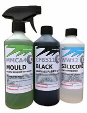 Convertible roof cleaner kit, fabric soft top dye mould remover waterproofer.