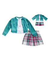 Girl 4-14 and Doll Matching Aqua Pink Plaid Skirt Jacket Clothes American Girl