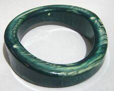Lovely irregular plastic bangle bracelet with marbled green design 2½ ins wide