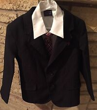 Black Pinstripe Youth Boys Sz 6 Occasion Suit Complete. Shirt Coat Pants Tie.