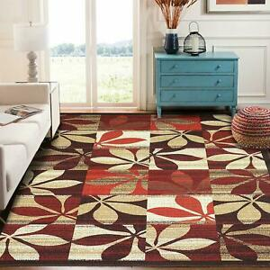 3 x 5 Ft Floral Runner with Anti Skid Backing For Home Decor, 1 Pc, Red, Nylon